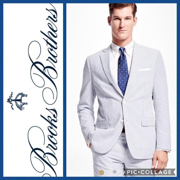 Brooks Brothers Suits Blazers 1818 Seersucker Suit 44l 36x31
